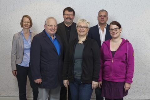 Von links nach rechts: Stephanie von Selchow, Kurt-Helmuth Eimuth, Wilfried Steller, Antje Schrupp, Ralf Bräuer, Anne Lemhöfer. Foto: Rolf Oeser