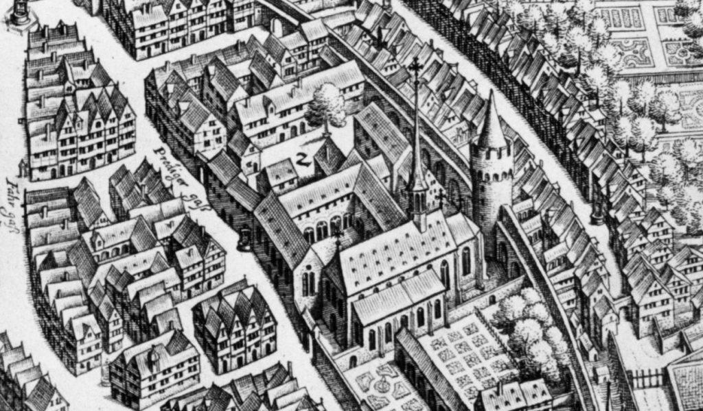Das Dominikanerkloster an der damaligen Stadtmauer auf dem Merian-Plan von 1628.