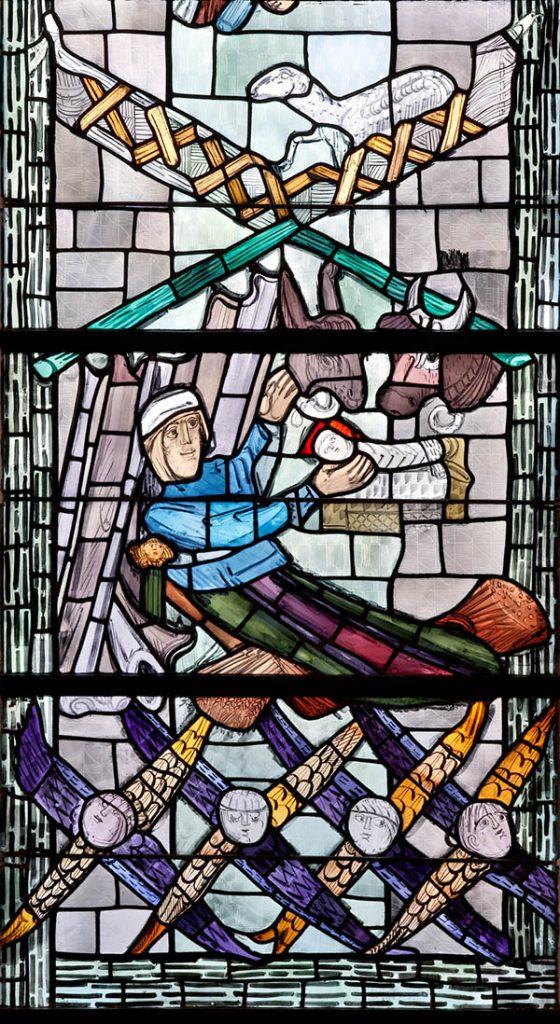 Glasfenster von Charles Crodel in der Jakobskirche in Bockenheim. Foto: Rui Camillo